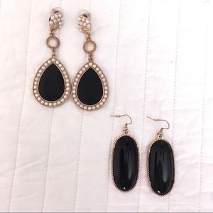 Set of 2 Black and Gold Earrings